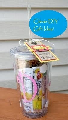 Clever DIY Gift Idea for the office Christmas party etc. Monogrammed reusable cup with several different kinds of drink packets inside!!