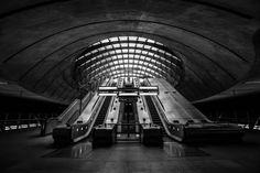 London Fine Art Photo: The Mothership, London Underground Architecture, Tube Station escalator, Canary Wharf, by LongExposureLondon on Etsy