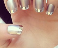 #nails #silver #matte #french #manicure