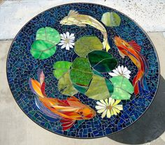 CUSTOM KOI stained glass mosaic table top or wall medallion - indoor or outdoor use - garden patio furniture and decor - made to order door ParadiseMosaics op Etsy https://www.etsy.com/nl/listing/237176489/custom-koi-stained-glass-mosaic-table