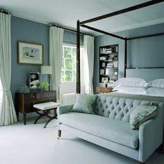 [CasaGiardino] ♡ House of Turquoise: Turquoise Sofas Aqua Bedrooms, Blue Gray Bedroom, Coastal Bedrooms, Bedroom Colors, Bedroom Decor, White Bedroom, Bedroom Ideas, House Of Turquoise, Turquoise Sofa