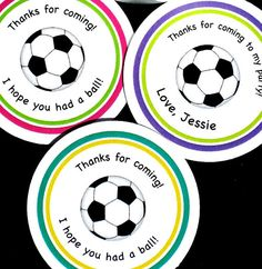 PRINTABLE personalized Soccer Ball Labels for Birthdays!  You get to pick the colors and the saying you want, fun! by ladybuglabels