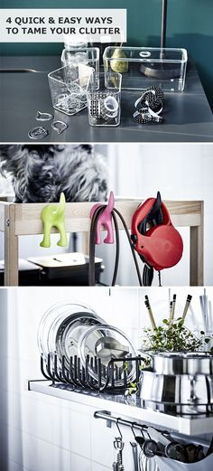 Get a jump start on spring cleaning and get organized with these 4 quick & easy IKEA ideas to tame your clutter in your home!