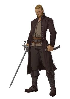 Half Elf with a short, nicely groomed beard. Also pirate Elf warrior Fantasy Character Design, Character Design Inspiration, Character Concept, Character Art, Rogue Character, Animation Character, Story Inspiration, Elf Characters, Dungeons And Dragons Characters