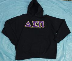 Delta Sigma Pi Hoodie Mens Sz XL Sweatshirt Black Purple Yellow Haynes Cotton #Haynes #Hoodie