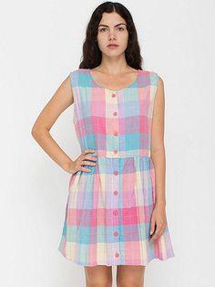 Vintage Pastel Madras Sleeveless Sun Dress