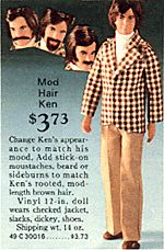Mod Hair Ken -  Imagine a Ken doll with facial hair, fuzzy, stickers, and you'll have an idea of what a Mod Hair Ken was.  He came with mustaches, sideburns, and beards.