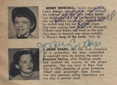 BOBBY DRISCOLL Disney child actor star autograph signed directory scarce rare in Collectibles, Disneyana, Vintage Other Vintage Disneyana