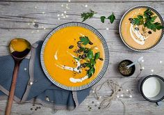 World's best pumpkin soup with carrots and fresh ginger - Elaine Best Pumpkin, Pumpkin Soup, Canned Pumpkin Recipes, Kitchenaid Artisan, Fresh Ginger, Food Art, Love Food, Great Recipes, Food And Drink