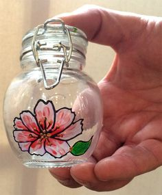 Designer Hand Painted Glass Round Pink Cosmos Jar by HandPaintedJar on Etsy