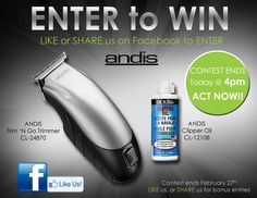 Today we will be announcing the #ANDIS Trimmer & Oil WINNER, so if you haven't entered #LIKE our SalonCA page or share this ad for bonus entries, today at 4pm PST we will post the WINNER so stay tuned and ENTER NOW for your chance to WIN this great Trimmer & Oil Combo!! https://www.facebook.com/salonca