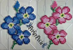 Blue and pink Forget-Me-Not flowers perler beads by PerlerPixie Perler Bead Designs, Easy Perler Bead Patterns, Hama Beads Design, Perler Bead Templates, Pearler Bead Patterns, Diy Perler Beads, Perler Bead Art, Pearler Beads, Fuse Beads