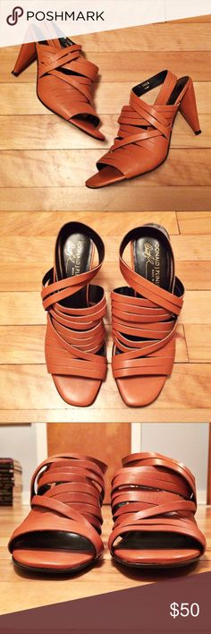 "Donald J. Pliner Strappy Peep Toe Slingback Heels Beautiful strappy leather heels in impeccable condition. Almost no wear. 3.5"" heel. Thank you for looking! Donald J. Pliner Shoes Heels"
