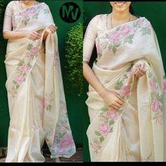 Floral Print Sarees, Saree Floral, Lace Saree, Organza Saree, Printed Sarees, Saree Blouse, Net Saree, Saree Dress, Saree Painting Designs