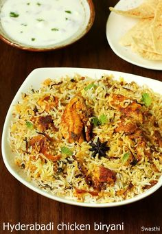 hyderabadi chicken biryani is a delicious rice dish made with basmati rice, spices & chicken. This authentic hyderabadi biryani is quick to make & is easy to try even by beginners. Hyderabadi Biryani Recipe, Prawn Biryani Recipes, Chicken Dum Biryani Recipe, Chicken Recipes, Chicken Biryani Recipe Pakistani, Chicken Byriani Recipe, Chicken Vindaloo, Chicken Treats, Chicken Curry