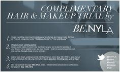 Win a complimentary hair+makeup trial by Be.NYLA brides! See contest for details! Visit www.benyla.com and like our Facebook fanpage @ Be.NYLA brides! :)