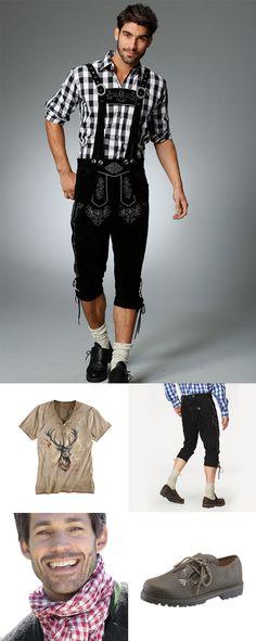 Hübsches Outfit für Ihn für die Wiesn. Schwarzes Karo-Hemd mit passendem Tuch und Schuhen.