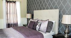 Romantic Elegant Dreamy Bedroom Candice Olson Wallpaper In A Charcoal Spanish Tile Print