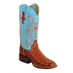 Ferrini Ladies Cognac/Baby Blue Print Anteater Boots S-Toe 92393-02