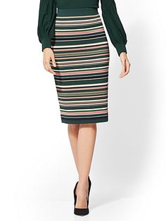 New York and Co. Womens Avenue Stripe Sweater Skirt Medium Velvet Green -- More info can be discovered at the photo link. (This is an affiliate link). Bleecker Street, 7 Avenue, Photo Link, Sweater Skirt, Trendy Clothes For Women, New York, Women's Skirts, Women's Clothes, Chic