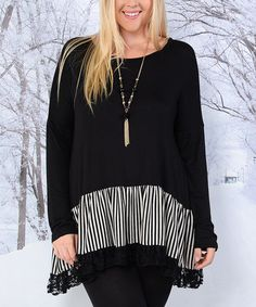 This Black & White Color Block Lace-Hem Tunic - Plus is perfect! #zulilyfinds