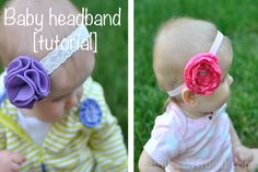 Picture tutorial for EASY baby satin or felt flower headbands