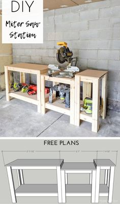 DIY miter saw stand. DIY miter saw stand. Easy Woodworking Projects, Woodworking Furniture, Diy Wood Projects, Home Projects, Woodworking Plans, Woodworking Techniques, Woodworking Equipment, Woodworking Classes, Woodworking Machinery