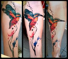 #kingfisher #watercolour #tattoo #zimorodek #tatuaż #kinkywizard Leg Tattoos, Flower Tattoos, Kingfisher Tattoo, Kintsugi, Bird Art, Watercolor Tattoo, Arms, Animal, Kingfisher