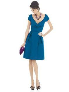Alfred Sung Bridesmaid Dress D500 (Peau De Soie in aquamarine, caspian/Dupioni in fusion, mosaic)- pockets.
