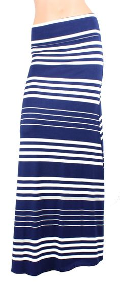 Navy White Stripe Printed Maxi Skirt