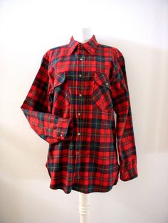 Vintage Men's 60s Red Wool Pendleton Shirt Red by OmAgainVintage, $30.00
