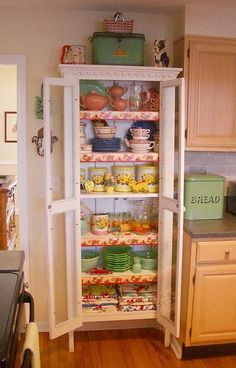 Hard to find vintage cupboards like this. Take a bookshelf, add some old dresser legs or furniture wheels, bead-board for the back, crown molding on top and finish it with what ever kind of door you'd like.