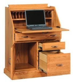 Amish Classic Secretary Desk with File Cabinet Drawer Fits right in for an instant office space wherever you need one. Fold down top covers up any clutter. Room to store files and set up your laptop. Crafted from choice of solid wood, stain and hardware. #secretarydesk