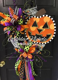 Jack-O-Lantern Wreath, Door Hanger, Door Decoration, Whimsical Pumpkin, Halloween Decor, Fall Wreath