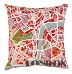 Contemporary London Light City Map tapestry by HanBassNeedlepoint