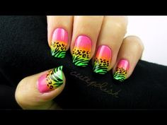 Wild Neon Animal Print Nail Art TOTALLY DID THIS LAST NIGHT AND I LOVE IT!<333