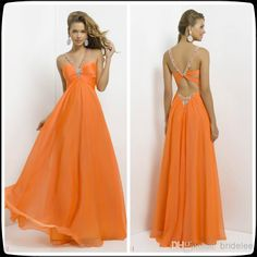 Wholesale Prom Dresses - Buy On Sale Empire Halter Sweetheart Sleeveless Orange A Line Chiffon Long Prom Evening Dresses Long Ruffle Beading Hollow Back Party Gowns, $68.0   DHgate