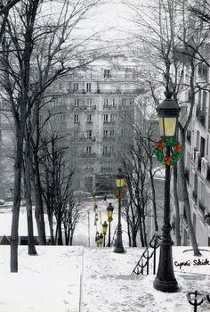Montmartre-Steps-in-Snow - Paris. Daar zou ik in de winter nog wel eens naar toe willen!