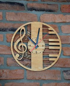 Music Lover Gift Wall Wooden Clock Rustic Decor Living Room Art Treble Clef For