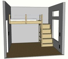 Full Sized Loft Bed, cute basic idea. Could add shelves to wall to turn into reading nook. Put desk under for separate office area.
