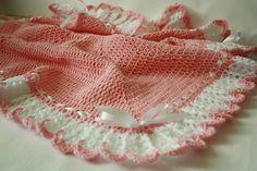Crochet Baby Girl Blanket / Afghan White Pink by HandmadeByHallien