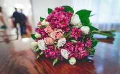 Download wallpapers bridal bouquet, roses, purple flowers, wedding bouquet, wedding concepts