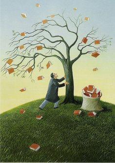 Fall books / Otoño de libros (ilustración de Soizick Meister) #biblioteques_UVEG