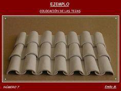 how to: miniature Spanish roof tiles Wooden Craft Sticks, Wooden Crafts, Craft Stick Crafts, Diy And Crafts, Miniature Crafts, Miniature Houses, Miniature Furniture, Doll Furniture, Diy Fairy Door