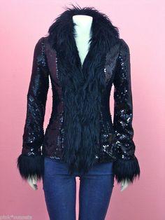 BETSEY JOHNSON Black Sequin Faux Fur Coat