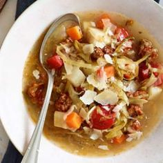 In this French-style healthy soup recipe, sausage, cabbage and root vegetables simmer together to make a comforting and healthy meal.