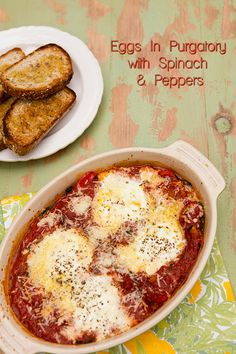 Italian Food Forever » Eggs In Purgatory With Spinach & Peppers