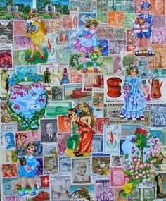 DIY: knutselen met postzegels en poezieplaatjes- DIY stamps- http://www.galerie-lucie.nl/