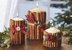 Rustic Christmas candles. Cinnamon candles. Great gift idea! Looks easy, and I'm sure smells fabulous!!!