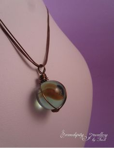 Marble Wire Wrapped Pendant Necklace, Brown Marble Pendant, Marble Necklace, £8.00